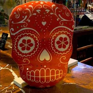 NEW Calavera Skull Orange Pillow